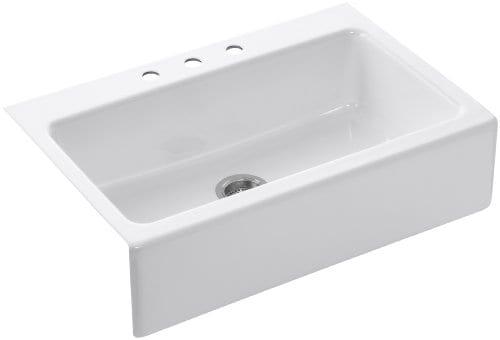 KOHLER K 6546 3 0 Dickinson Apron Front Tile In Kitchen Sink White 0