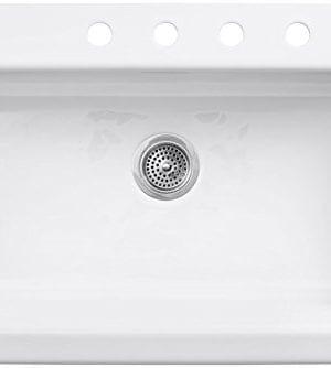 KOHLER K 6546 4 0 Dickinson Apron Front Tile In Kitchen Sink White 0 0 300x334