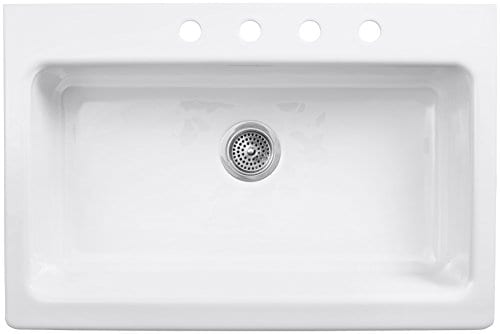 KOHLER K 6546 4 0 Dickinson Apron Front Tile In Kitchen Sink White 0 0