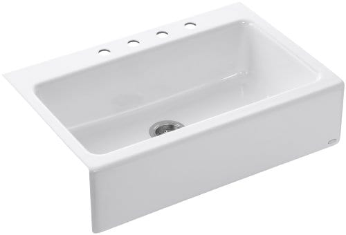 KOHLER K 6546 4 0 Dickinson Apron Front Tile In Kitchen Sink White 0