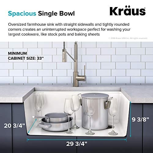 KRAUS 30 Inch Bellucci White Farmhouse WorkStation Quartz Composite Apron Front Single Bowl Granite Kitchen Sink With Cutting Board KGF1 30White 0 2
