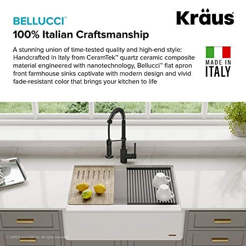 KRAUS 30 Inch Bellucci White Farmhouse WorkStation Quartz Composite Apron Front Single Bowl Granite Kitchen Sink With Cutting Board KGF1 30White 0 3