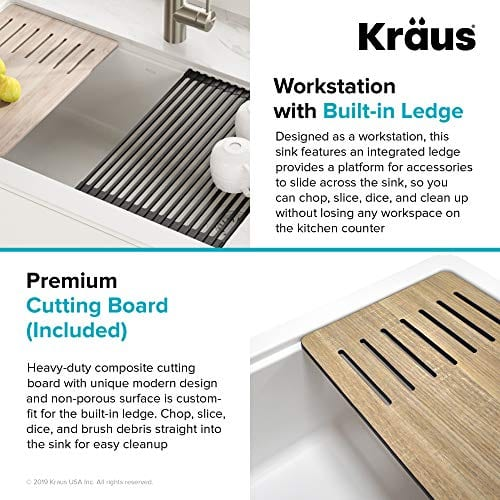 KRAUS 30 Inch Bellucci White Farmhouse WorkStation Quartz Composite Apron Front Single Bowl Granite Kitchen Sink With Cutting Board KGF1 30White 0 4