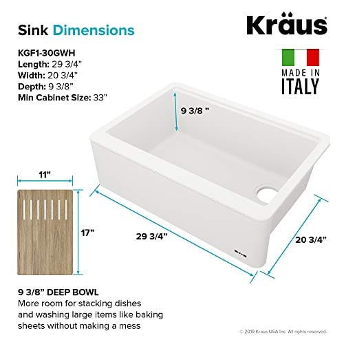 KRAUS 30 Inch Bellucci White Farmhouse WorkStation Quartz Composite Apron Front Single Bowl Granite Kitchen Sink With Cutting Board KGF1 30White 0 5