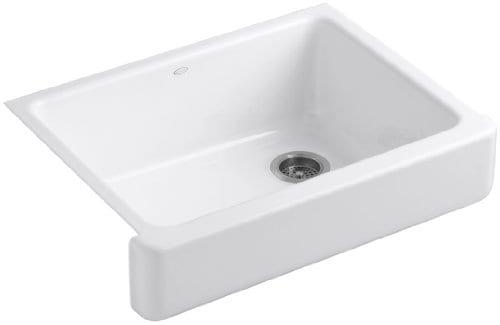 Kohler K 6486 0 Whitehaven Self Trimming Under Mount Single Bowl Kitchen Sink With Short Apron White 0