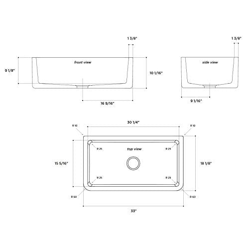 Latoscana 33 Reversible Fireclay Farmhouse Sink LFS3318W 0 1