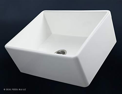 Luxury 26 Inch Pure Fireclay Modern Farmhouse Kitchen Sink In White Single Bowl With Flat Front Includes Stainless Steel Drain FSW1000 By Fossil Blu 0 1