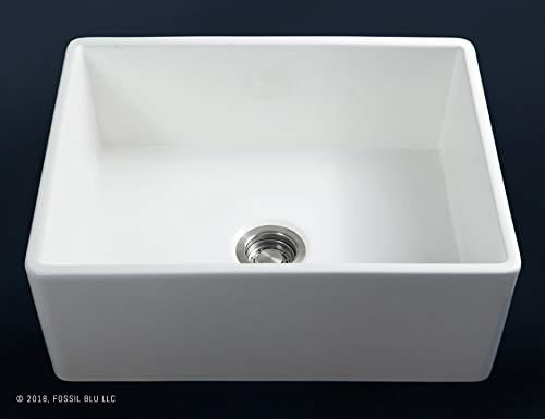 Luxury 26 Inch Pure Fireclay Modern Farmhouse Kitchen Sink In White Single Bowl With Flat Front Includes Stainless Steel Drain FSW1000 By Fossil Blu 0 2