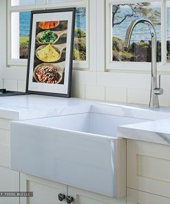 Luxury-26-inch-Pure-Fireclay-Modern-Farmhouse-Kitchen-Sink-in-White-Single-Bowl-with-Flat-Front-includes-Stainless-Steel-Drain-FSW1000-by-Fossil-Blu-0
