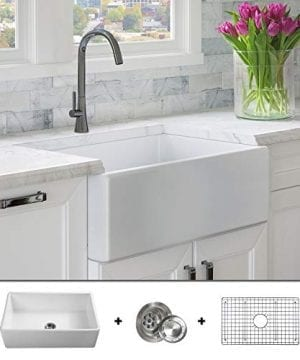 Luxury-30-inch-Pure-Fireclay-Modern-Farmhouse-Kitchen-Sink-in-White-Single-Bowl-Flat-Front-includes-Stainless-Steel-Grid-and-Drain-FSW1001-by-Fossil-Blu-0