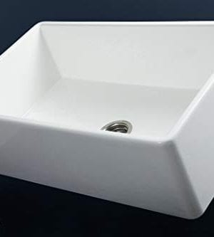 Luxury 30 Inch Pure Fireclay Modern Farmhouse Kitchen Sink In White Single Bowl With Flat Front Includes Stainless Steel Drain FSW1001 By Fossil Blu 0 1 300x333
