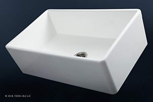 Luxury 30 Inch Pure Fireclay Modern Farmhouse Kitchen Sink In White Single Bowl With Flat Front Includes Stainless Steel Drain FSW1001 By Fossil Blu 0 1