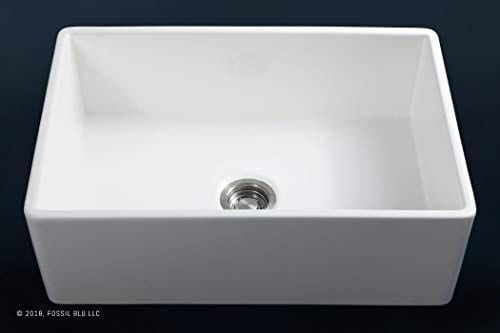 Luxury 30 Inch Pure Fireclay Modern Farmhouse Kitchen Sink In White Single Bowl With Flat Front Includes Stainless Steel Drain FSW1001 By Fossil Blu 0 2