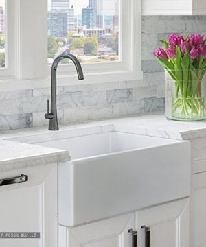 Luxury 30 Inch Pure Fireclay Modern Farmhouse Kitchen Sink In White Single Bowl With Flat Front Includes Stainless Steel Drain FSW1001 By Fossil Blu 0 300x360