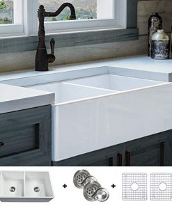 Luxury-33-inch-Pure-Fireclay-Modern-Farmhouse-Kitchen-Sink-in-White-Double-Bowl-Flat-Front-includes-Stainless-Steel-Grids-and-Drains-FSW1003-by-Fossil-Blu--0