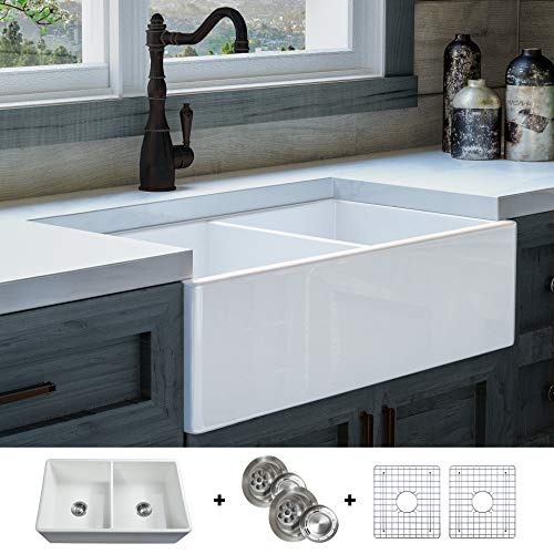 Luxury 33 Inch Solid Not Hollow Ultra Fine Fireclay Modern Farmhouse Kitchen Sink In White Double Bowl Flat Front Includes Grids And Drains