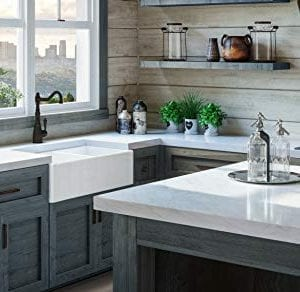 Luxury 33 Inch Pure Fireclay Modern Farmhouse Kitchen Sink In White Double Bowl With Flat Front Includes Stainless Steel Drains FSW1003 By Fossil Blu 0 0 300x292