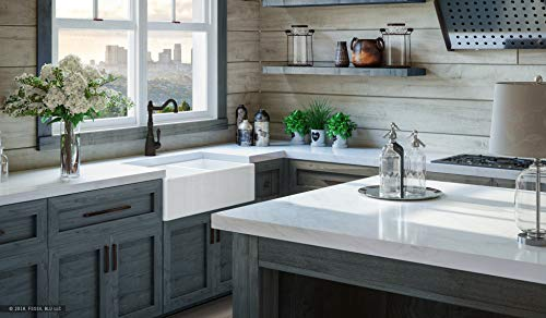 Luxury 33 Inch Pure Fireclay Modern Farmhouse Kitchen Sink In White Double Bowl With Flat Front Includes Stainless Steel Drains FSW1003 By Fossil Blu 0 0
