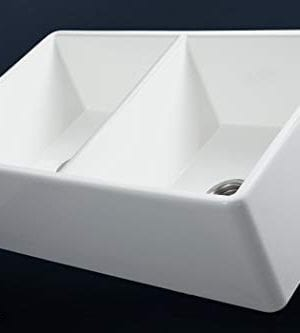 Luxury 33 Inch Pure Fireclay Modern Farmhouse Kitchen Sink In White Double Bowl With Flat Front Includes Stainless Steel Drains FSW1003 By Fossil Blu 0 1 300x333