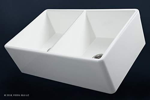 Luxury 33 Inch Pure Fireclay Modern Farmhouse Kitchen Sink In White Double Bowl With Flat Front Includes Stainless Steel Drains FSW1003 By Fossil Blu 0 1