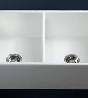 Luxury 33 Inch Pure Fireclay Modern Farmhouse Kitchen Sink In White Double Bowl With Flat Front Includes Stainless Steel Drains FSW1003 By Fossil Blu 0 2 300x333
