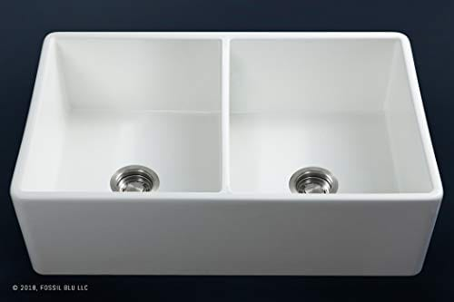 Luxury 33 Inch Pure Fireclay Modern Farmhouse Kitchen Sink In White Double Bowl With Flat Front Includes Stainless Steel Drains FSW1003 By Fossil Blu 0 2