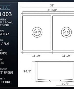 Luxury 33 Inch Pure Fireclay Modern Farmhouse Kitchen Sink In White Double Bowl With Flat Front Includes Stainless Steel Drains FSW1003 By Fossil Blu 0 3 300x360