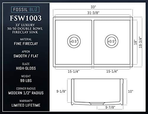 Luxury 33 Inch Pure Fireclay Modern Farmhouse Kitchen Sink In White Double Bowl With Flat Front Includes Stainless Steel Drains FSW1003 By Fossil Blu 0 3