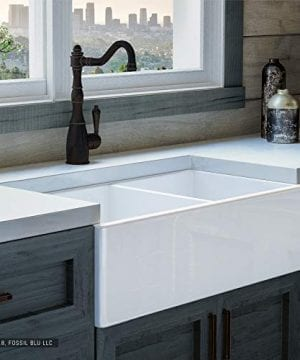 Luxury-33-inch-Pure-Fireclay-Modern-Farmhouse-Kitchen-Sink-in-White-Double-Bowl-with-Flat-Front-includes-Stainless-Steel-Drains-FSW1003-by-Fossil-Blu--0