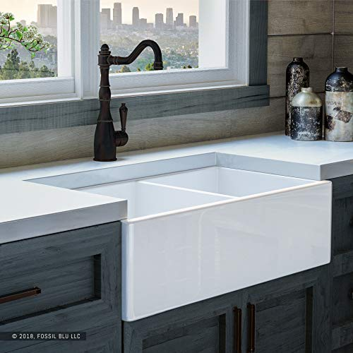 Luxury 33 Inch Pure Fireclay Modern Farmhouse Kitchen Sink In White Double Bowl With Flat Front Includes Stainless Steel Drains FSW1003 By Fossil Blu 0