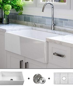Luxury 33 Inch Pure Fireclay Modern Farmhouse Kitchen Sink In White Single Bowl Flat Front Includes Stainless Steel Grid And Drain FSW1002 By Fossil Blu 0 300x360