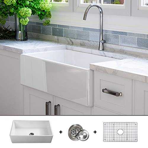 Luxury 33 Inch Pure Fireclay Modern Farmhouse Kitchen Sink In White Single Bowl Flat Front Includes Stainless Steel Grid And Drain FSW1002 By Fossil Blu 0