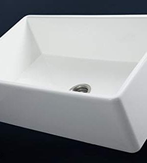 Luxury 33 Inch Pure Fireclay Modern Farmhouse Kitchen Sink In White Single Bowl With Flat Front Includes Stainless Steel Drain FSW1002 By Fossil Blu 0 1 300x333