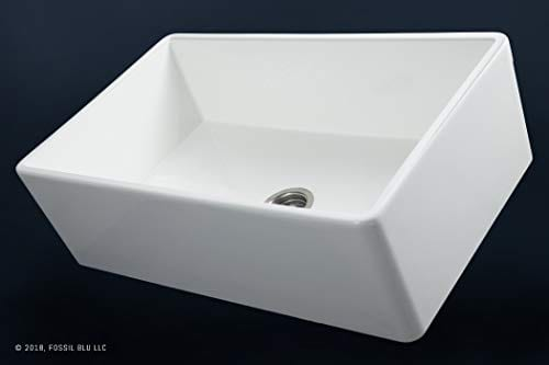 Luxury 33 Inch Pure Fireclay Modern Farmhouse Kitchen Sink In White Single Bowl With Flat Front Includes Stainless Steel Drain FSW1002 By Fossil Blu 0 1