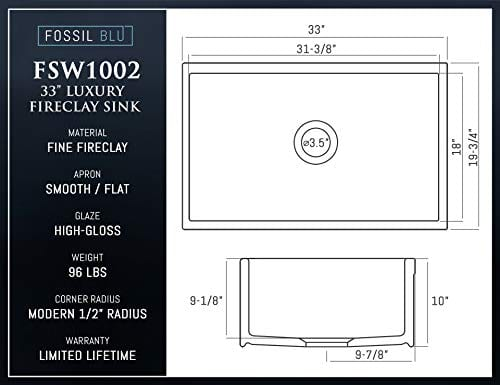 Luxury 33 Inch Pure Fireclay Modern Farmhouse Kitchen Sink In White Single Bowl With Flat Front Includes Stainless Steel Drain FSW1002 By Fossil Blu 0 3