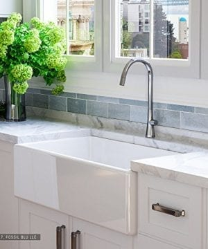 Luxury 33 Inch Pure Fireclay Modern Farmhouse Kitchen Sink In White Single Bowl With Flat Front Includes Stainless Steel Drain FSW1002 By Fossil Blu 0 300x360