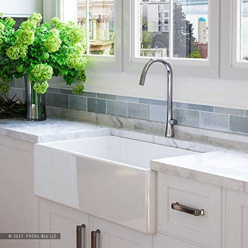 Luxury 33 Inch Pure Fireclay Modern Farmhouse Kitchen Sink In White Single Bowl With Flat Front Includes Stainless Steel Drain FSW1002 By Fossil Blu 0