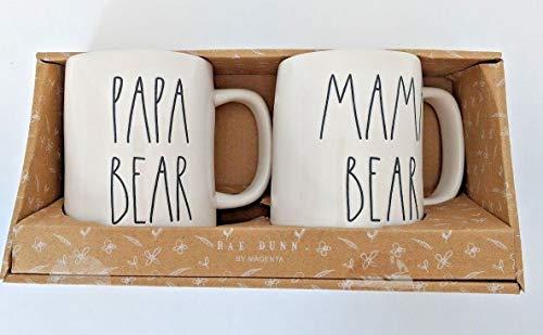 RAE DUNN MAMA BEAR PAPA BEAR BOXED MUG SET 0