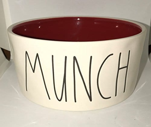 Rae Dunn Christmas Bowls.Rare Rae Dunn By Magenta Munch In Large Letters With Christmas Red Interior 6 Inch Dog Pet Bowl