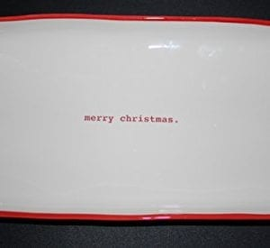 RARE Rae Dunn By Magenta Merry Christmas In Red Typeset Red Rimmed Holiday Serving Platter 14 X 7 Inch 0 300x275