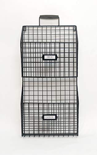 Rae Dun Wall File Holder Two Tier Galvanized Steel Wire Rack Bins Wooden Handle Document And Paperwork Organization And Storage Mounts To Wall And Doors For Office And Home 0