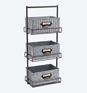 Rae Dunn 3 Tier Desk Organizer Galvanized Steel Caddy With Solid Wood Handle And Accents Freestanding Floor Design Chic And Stylish Metal Storage Bins For Office Home Or Kitchen 0 0 300x320