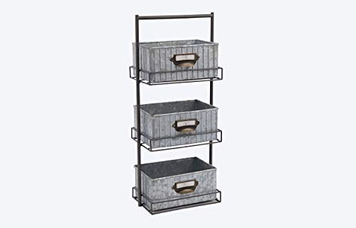 Rae Dunn 3 Tier Desk Organizer Galvanized Steel Caddy With Solid Wood Handle And Accents Freestanding Floor Design Chic And Stylish Metal Storage Bins For Office Home Or Kitchen 0 0