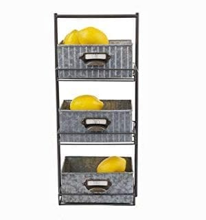 Rae Dunn 3 Tier Desk Organizer Galvanized Steel Caddy With Solid Wood Handle And Accents Freestanding Floor Design Chic And Stylish Metal Storage Bins For Office Home Or Kitchen 0 1 300x320