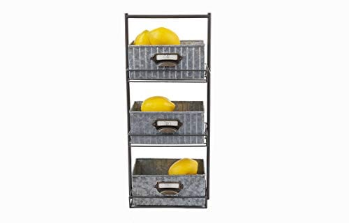 Rae Dunn 3 Tier Desk Organizer Galvanized Steel Caddy With Solid Wood Handle And Accents Freestanding Floor Design Chic And Stylish Metal Storage Bins For Office Home Or Kitchen 0 1