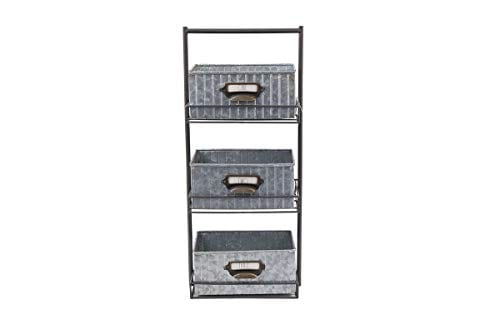 Rae Dunn 3 Tier Desk Organizer Galvanized Steel Caddy With Solid Wood Handle And Accents