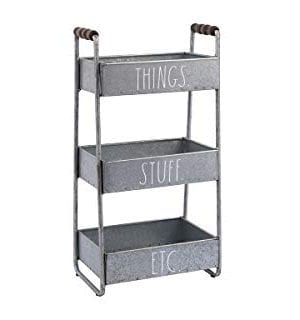 Rae Dunn 3 Tier Desk Organizer Galvanized Steel Caddy With Wood Accents Tabletop Or Floor Standing Design Chic And Stylish Metal Storage Bin For Office Home Or Kitchen 0 0 300x320