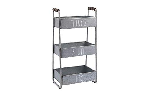Rae Dunn 3 Tier Desk Organizer Galvanized Steel Caddy With Wood Accents Tabletop Or Floor Standing Design Chic And Stylish Metal Storage Bin For Office Home Or Kitchen 0 0