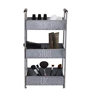 Rae Dunn 3 Tier Desk Organizer Galvanized Steel Caddy With Wood Accents Tabletop Or Floor Standing Design Chic And Stylish Metal Storage Bin For Office Home Or Kitchen 0 1 300x328