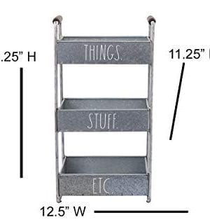 Rae Dunn 3 Tier Desk Organizer Galvanized Steel Caddy With Wood Accents Tabletop Or Floor Standing Design Chic And Stylish Metal Storage Bin For Office Home Or Kitchen 0 2 300x320